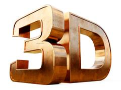 Copper 3D logo isolated on white background with reflection effect. - stock illustration