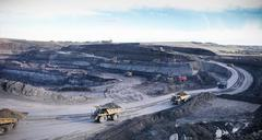 Surface coal mine site, elevated view Stock Photos