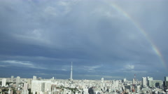 Over 5K Time Lpase - Rainbow over the city of Tokyo Stock Footage