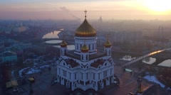 Moscow christ the savior cathedral aerial - stock footage