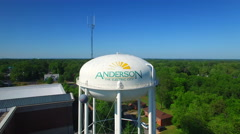 Anderson SC water tower Descending shot Stock Footage