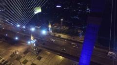 Fly Through at Rama 8 Bridge Bangkok Thailand Stock Footage