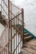 Staircase inside Trans-Allegheny Lunatic Asylum - stock photo