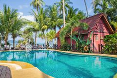 Swimming pool in tropical - stock photo