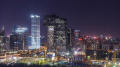 Cityscape skyline night timelapse. Beijing CBD Buildings and construction site. Stock Footage