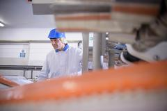 Worker in food factory with salmon filleting machine - stock photo