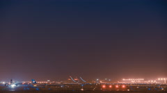 Timelapse. Light Trails of Aircrafts Taking-off and Landing at Runway, Beijing. Stock Footage