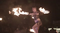 Street performer - circus acrobat fire - busker Stock Footage