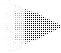 Black halftone dots arrow shape - stock illustration
