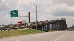 Historic Calcasieu River Bridge in Westlake, Louisiana, USA Stock Footage