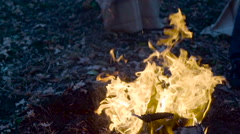 Outdoor wood campfire burring brightly at forest - stock footage