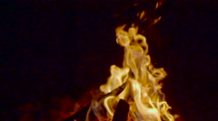 Wood campfire burring brightly at summer night with sparks Stock Footage