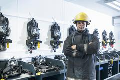 Portrait of firefighter in respirator storage room of fire simulation training Stock Photos