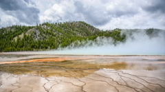 Timelapse of Grand Prismatic Spring in Yellowstone National Park. Stock Footage