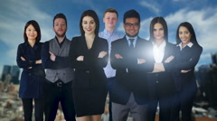 portrait of diverse group of business people standing together facing camera - stock footage