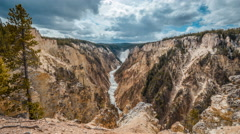 Timelapse of Lower Falls of the Yellowstone River, Yellowstone National Park. Stock Footage