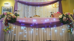 Fashionable decoration of the hall for wedding day Stock Footage