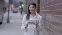 portrait of young women standing on street in the city. urban lifestyle scene. - stock footage