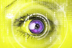 Cyber woman with matrix eye concept Kuvituskuvat