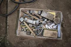Selection of heavy duty tools in foundry Stock Photos