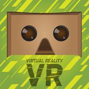 Original virtual reality cardboard headset device Stock Illustration