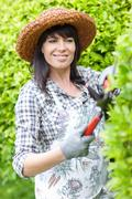 Woman trimming hedges in garden Stock Photos