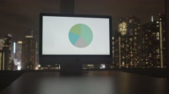 reviewing business statistic charts on computer screen in city office workplace - stock footage