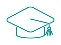 Graduation cap diploma web outline hat icon vector illustration - stock illustration