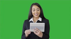 Young attractive black women using tablet computer having a business talk Stock Footage