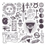 Set of trendy vector esoteric symbols collection sketch hand drawn Piirros