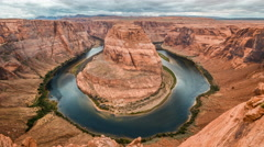 Timelapse of Horseshoe Bend in cloudy day, Page, Arizona, USA. Stock Footage
