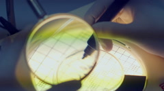 scientist with magnifying glass - stock footage