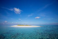Sandbar in tropical water Stock Photos