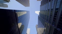 POV view of skyscraper buildings in the city. modern financial business district - stock footage