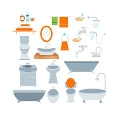 Bathroom icons colored set with process water savings symbols vector - stock illustration