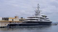 Fix shot of mega yacht luxury ship LUNA . - stock footage
