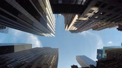 POV view of skyscraper buildings in the city. modern financial business district Stock Footage