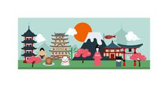 Japan poster scenery banners concept culture design vector - stock illustration