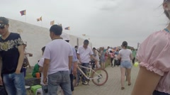 Many People go About Their Business During Holiday About Mongolian Stadium Stock Footage