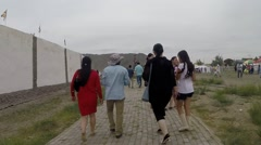 Many People Comes About Along Way of Mongolian Stadium Stock Footage