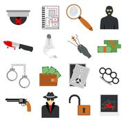 Crime icons protection law justice sign security police gun icon in flat colors - stock illustration