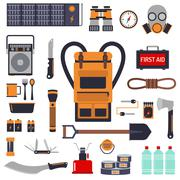 Survival emergency kit for evacuation vector objects set - stock illustration