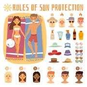 People on the sand beach fun vacation happy time cartoon vector illustration - stock illustration