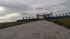 Movement Towards the Mongolian Stone Monument on Empty Road Pov Stock Footage