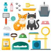 Pet supplies cat accessories animal equipment care grooming tools vector set - stock illustration