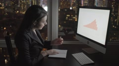 Successful business women working on computer desk analyzing financial profits Stock Footage