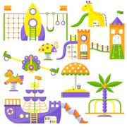 Children playground fun childhood play park activity flat vector illustration Stock Illustration
