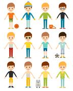 Set cute happy cartoon boys characters childhood young active lifestyle vector - stock illustration