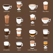 Coffee cups different cafe drinks types espresso mug with foam beverage - stock illustration