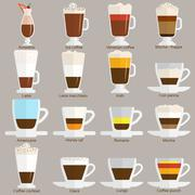 Coffee cups different cafe drinks types espresso mug with foam beverage Stock Illustration